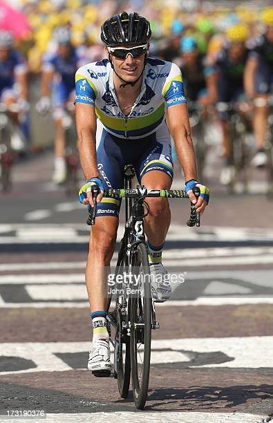 Daryl Impey of South Africa and Team Orica GreenEdge finishes Stage Ten of the Tour de France 2013 the 100th Tour de France a 197 km road stage from...