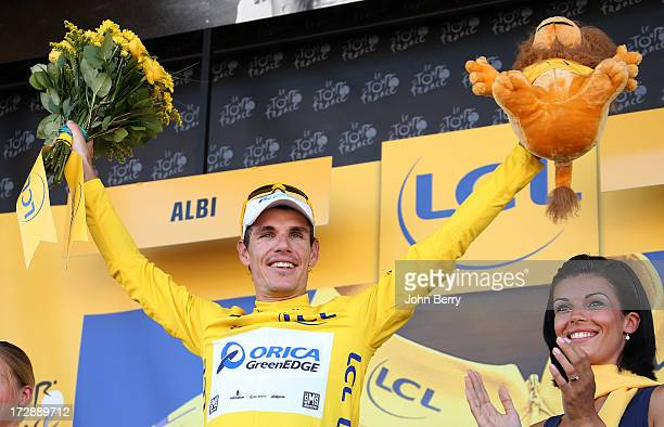 Daryl Impey of South Africa and Team Orica GreenEdge retains the yellow jersey after Stage Seven of the Tour de France 2013, the 100th Tour de...