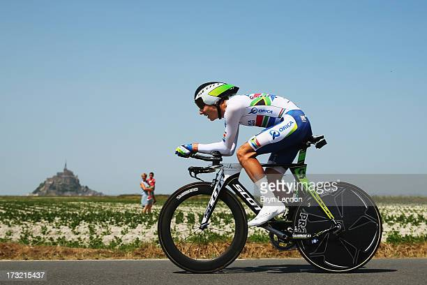 Daryl Impey of South Africa and Team Orica GreenEdge rides during stage eleven of the 2013 Tour de France a 33KM Individual Time Trial from Avranches...