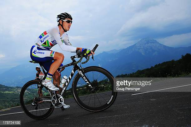 Daryl Impey of South Africa and Team Orica GreenEdge rides during stage seventeen of the 2013 Tour de France, a 32KM Individual Time Trial from...