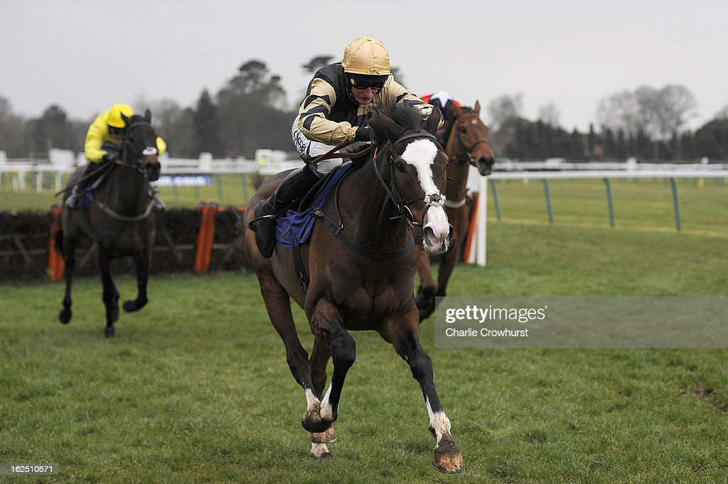 Daryl Jacob on Prospect Wells wins The totepool national spirit hurdle race at Fontwell Park racecourse on February 24, 2013 in Fontwell, England.