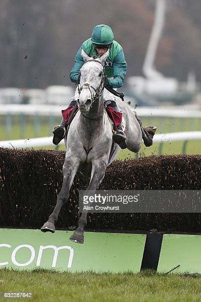 Daryl Jacob riding Bristol De Mai clear the last to comfortably win The Peter Marsh Handicap Steeple Chase at Haydock Racecourse on January 21 2017...