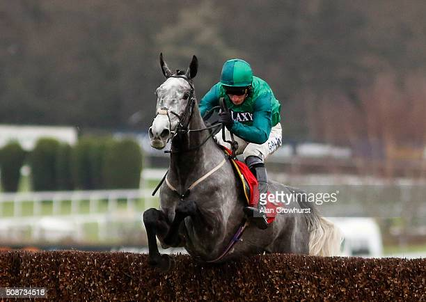 Daryl Jacob riding Bristol De Mai clear the last to win The Betfred Tv Scilly Isles Novices' Steeple Chase at Sandown racecourse on February 06 2016...