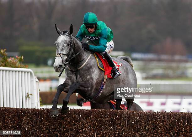 Daryl Jacob riding Bristol De Mai on their way to winning The Betfred Tv Scilly Isles Novices' Steeple Chase at Sandown racecourse on February 06...