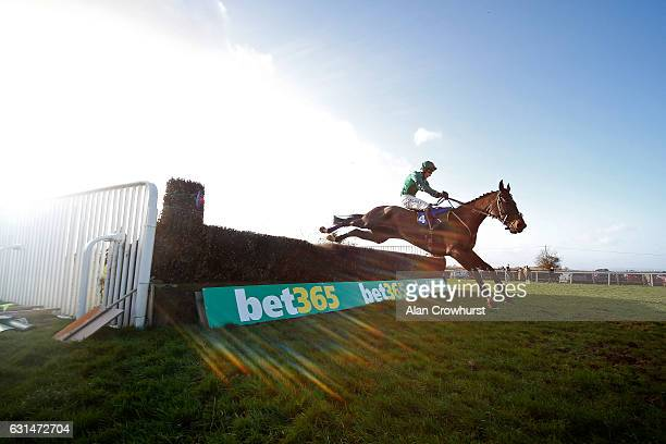 Daryl Jacob riding Calett Mad clear the last to win The Bathwick Tyres Handicap Steeple Chase at Taunton Racecourse on January 11 2017 in Taunton...