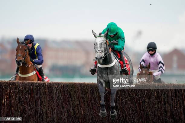 Daryl Jacob riding Caribean Boy on their way to winning The Ladbrokes Committed To Safer Gambling Novices' Chase at Newbury Racecourse on November...