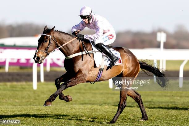 Daryl Jacob riding Global Citizen clear the last to win The Sky Bet Dovecote Novices' Hurdle Race at Kempton Park racecourse on February 24 2018 in...