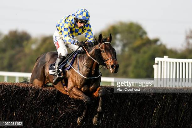 Daryl Jacob riding Hoke Colburn clear the last to win The Brampton Handicap Chase at Huntingdon Racecourse on October 16 2018 in Huntingdon United...