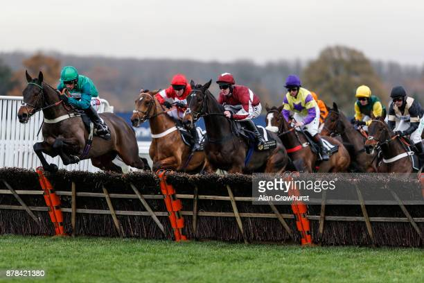 Daryl Jacob riding Kildisart on their way to winning The Prince's Countryside Fund National Hunt Maiden Hurdle Race at Ascot racecourse on November...