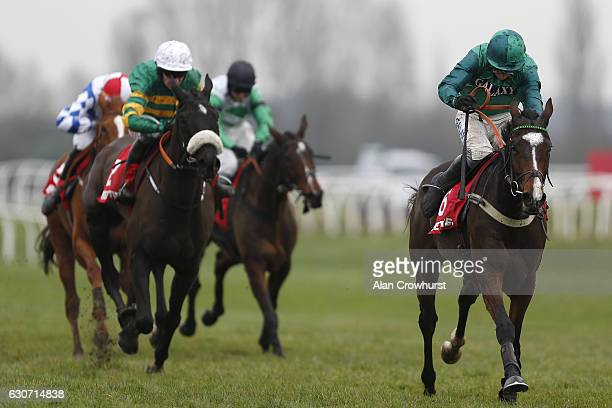Daryl Jacob riding Messire Des Obeaux clear the last to win The Betfred Challow Novices' Hurdle at Newbury Racecourse on December 31 2016 in Newbury...