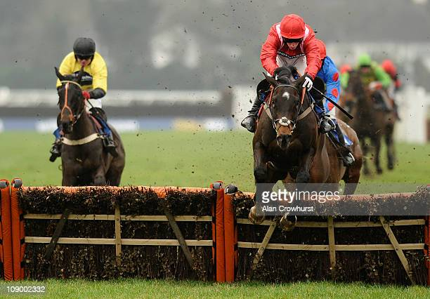 Daryl Jacob riding Rebel Rebellion clear the last to win The Betfair iPhone Android App Novices' Hurdle Race at Kempton racecourse on February 11...