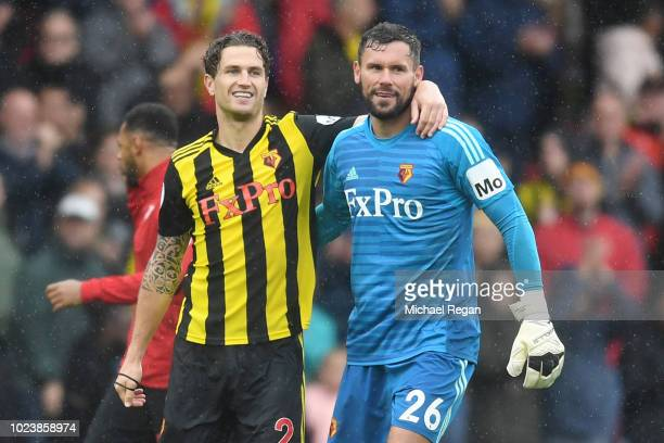 Daryl Janmaat and Ben Foster of Watford celebrate victory following the Premier League match between Watford FC and Crystal Palace at Vicarage Road...