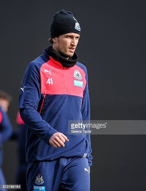 Daryl Janmaat looks on during the Newcastle United Training session at The Newcastle United Training Centre on March 1 in Newcastle upon Tyne England