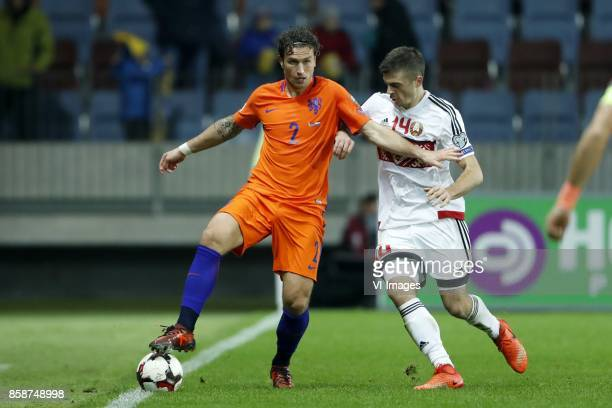Daryl Janmaat of Holland Aleksandr Karnitski of Belarus during the FIFA World Cup 2018 qualifying match between Belarus and Netherlands on October 07...