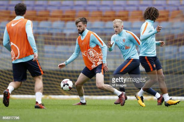 Daryl Janmaat of Holland Davy Propper of Holland Donny van de Beek of Holland Nathan Ake of Holland during a training session prior to the FIFA World...