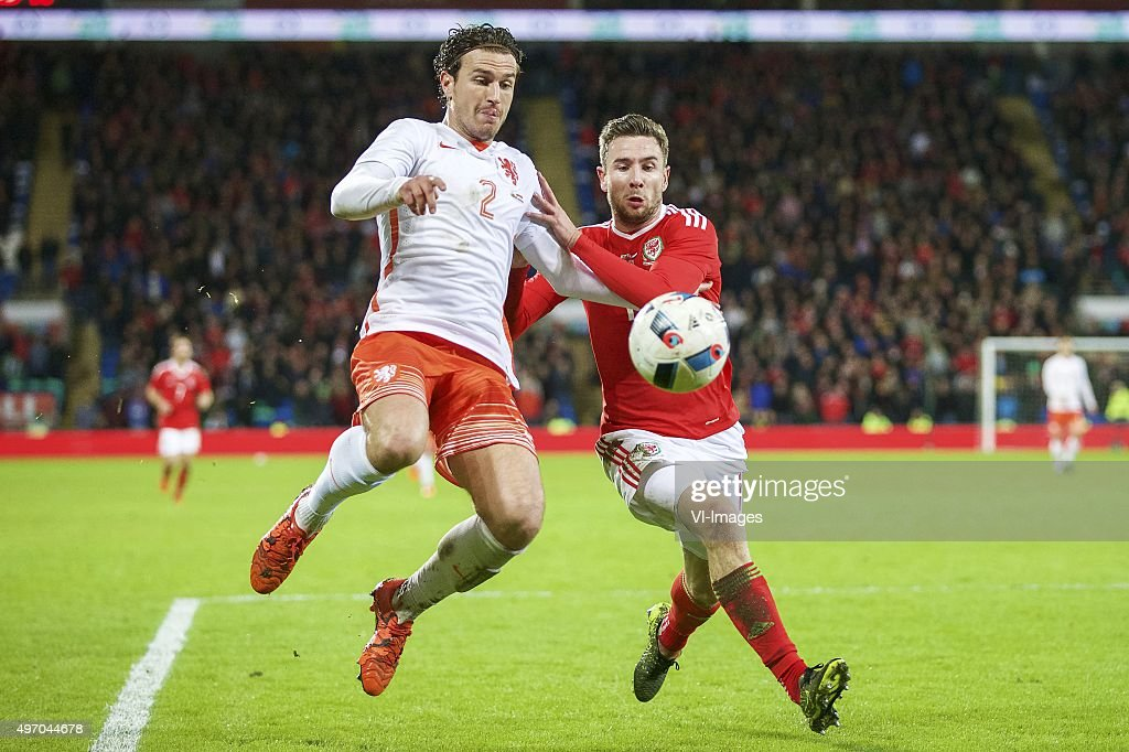 Daryl Janmaat Of Holland, Paul Dummett Of Wales During The