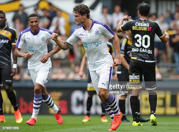 Daryl Janmaat of Newcastle celebrates after scoring the second goal during the Pre Season Friendly match between KSC Lokeren and Newcastle United on...