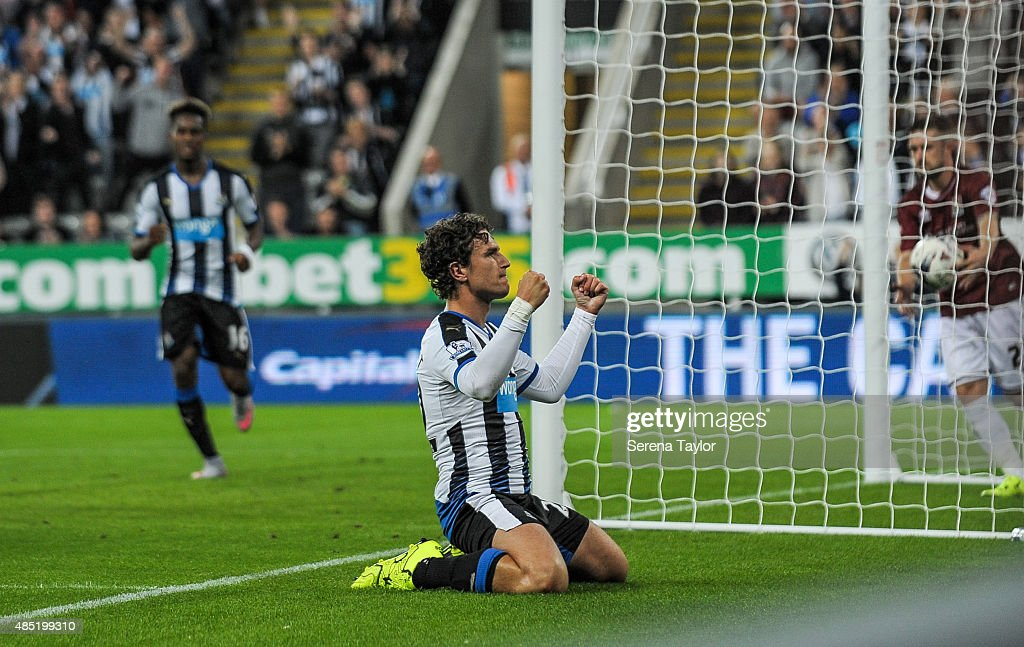 Daryl Janmaat of Newcastle celebrates after scoring the third goal for Newcastle during The Capital One Cup second round match between Newcastle United and Northampton Town at St.James Park on August 25, 2015, in Newcastle upon Tyne, England.
