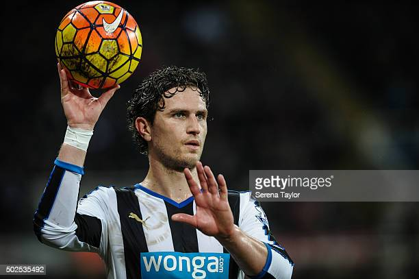 Daryl Janmaat of Newcastle holds the ball with one hand during the Barclays Premier League match between Newcastle United and Everton at St.James'...
