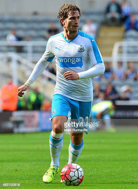 Daryl JanMaat of Newcastle in action during the Pre Season Friendly between Newcastle United and Borussia Moenchengladbach at St James' Park on...