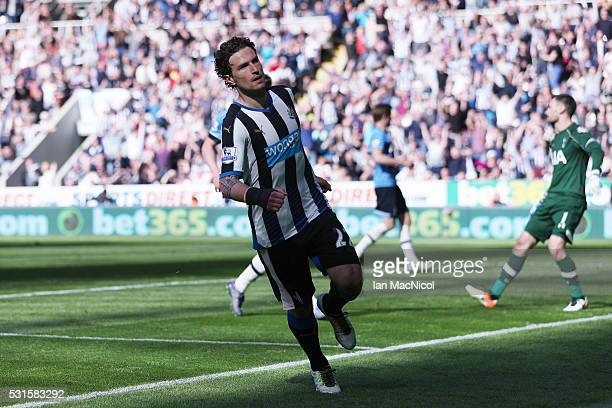 Daryl Janmaat of Newcastle United celebrates scoring his team's fifth goal during the Barclays Premier League match between Newcastle United and...