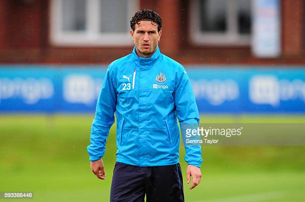Daryl Janmaat of Newcastle United stands on the pitch during a Newcastle United training session at the Newcastle United Training Centre on August 22...