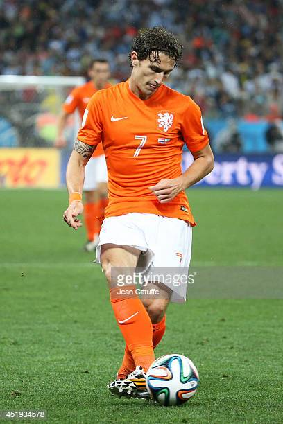 Daryl Janmaat of the Netherlands in action during the 2014 FIFA World Cup Brazil Semi Final match between Netherlands and Argentina at Arena de Sao...