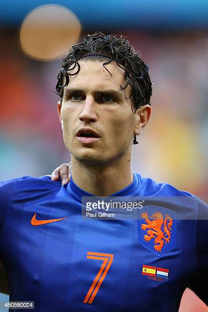 Daryl Janmaat of the Netherlands looks on before the 2014 FIFA World Cup Brazil Group B match between Spain and Netherlands at Arena Fonte Nova on...