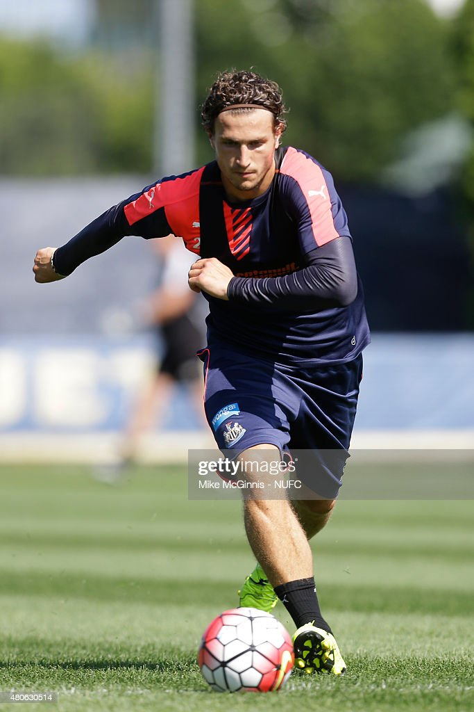 Daryl Janmaat #21 of the New Castle United runs through some drills during practice at Marquette University Valley Fields on July 13, 2015, in Milwaukee, Wisconsin.