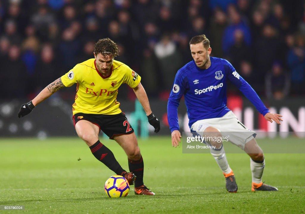 Daryl Janmaat Of Watford And Gylfi Sigurdsson Of Everton