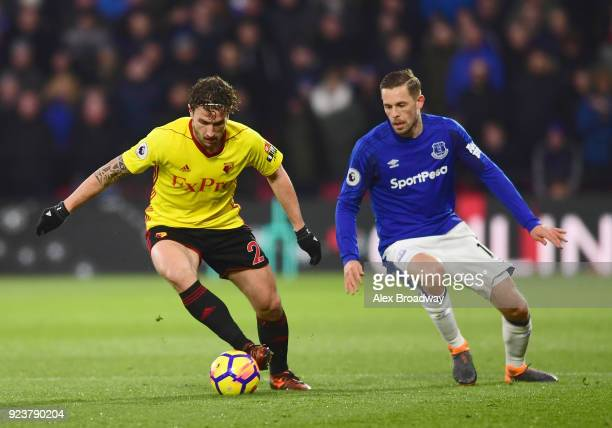 Daryl Janmaat of Watford and Gylfi Sigurdsson of Everton battle for the ball during the Premier League match between Watford and Everton at Vicarage...