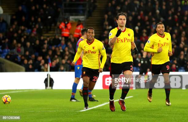 Daryl Janmaat of Watford celebrates after scoring his sides first goal during the Premier League match between Crystal Palace and Watford at Selhurst...