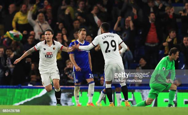 Daryl Janmaat of Watford celebrates scoring his sides second goal with Etienne Capoue of Watfordduring the Premier League match between Chelsea and...