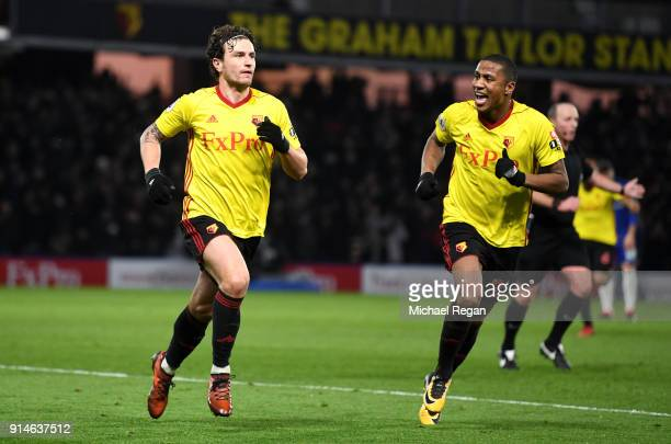 Daryl Janmaat of Watford celebrates scoring the 2nd Watford goal with Marvin Zeegelaar of Watford during the Premier League match between Watford and...