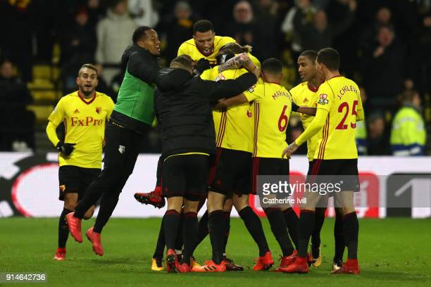 Daryl Janmaat of Watford celebrates scoring the 2nd Watford goal with team mates during the Premier League match between Watford and Chelsea at...