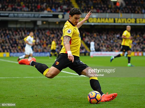 Daryl Janmaat of Watford during the Premier League match between Watford and Leicester City at Vicarage Road on November 19 2016 in Watford England