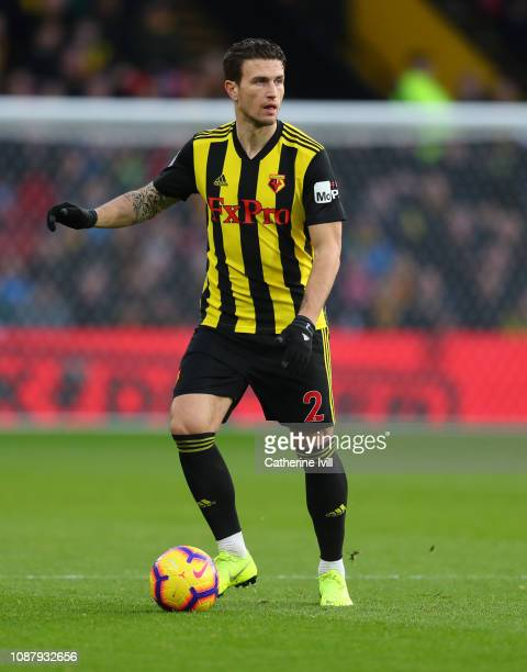 Daryl Janmaat of Watford during the Premier League match between Watford FC and Newcastle United at Vicarage Road on December 29 2018 in Watford...