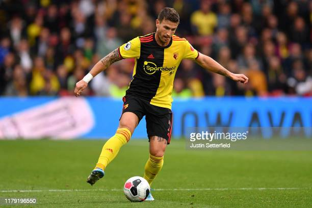 Daryl Janmaat of Watford during the Premier League match between Watford FC and Sheffield United at Vicarage Road on October 05 2019 in Watford...