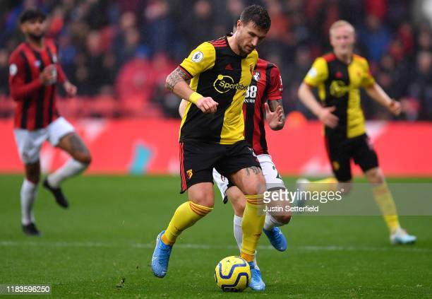 Daryl Janmaat of Watford during the Premier League match between Watford FC and AFC Bournemouth at Vicarage Road on October 26, 2019 in Watford,...