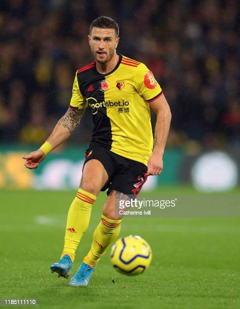 Daryl Janmaat of Watford during the Premier League match between Watford FC and Chelsea FC at Vicarage Road on November 02 2019 in Watford United...