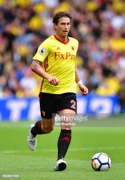 Daryl Janmaat of Watford in action during the during the Premier League match between Watford and Liverpool at Vicarage Road on August 12 2017 in...