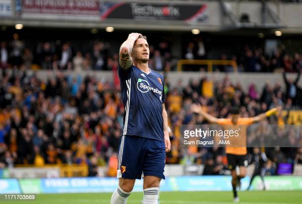 Daryl Janmaat of Watford reacts after scoring an own goal to make it 2-0 during the Premier League match between Wolverhampton Wanderers and Watford...