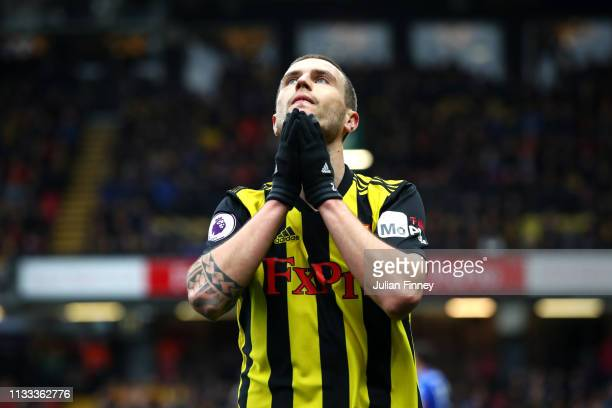 Daryl Janmaat of Watford reacts during the Premier League match between Watford FC and Leicester City at Vicarage Road on March 03 2019 in Watford...