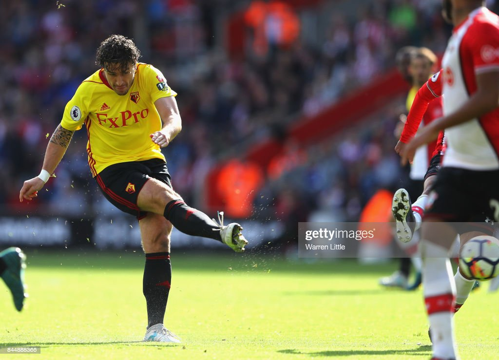 Daryl Janmaat of Watford scores his sides second goal during the Premier League match between Southampton and Watford at St Mary's Stadium on September 9, 2017 in Southampton, England.