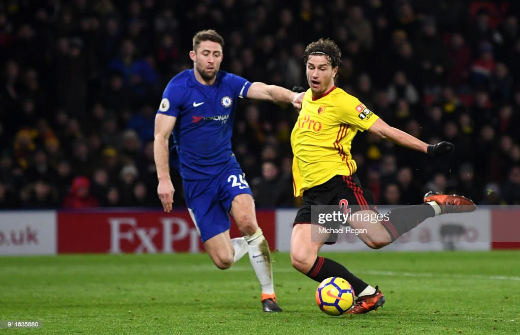 Daryl Janmaat of Watford scores the 2nd Watford goal during the Premier League match between Watford and Chelsea at Vicarage Road on February 5, 2018 in Watford, England.