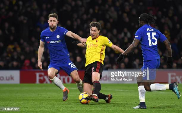 Daryl Janmaat of Watford scores the 2nd Watford goal during the Premier League match between Watford and Chelsea at Vicarage Road on February 5 2018...