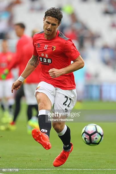 Daryl Janmaat of Watford warms up during the Premier League match between West Ham United and Watford at Olympic Stadium on September 10 2016 in...