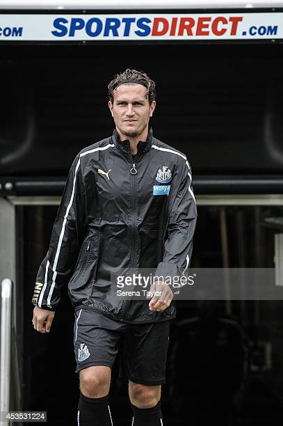 Daryl Janmaat walks out of the tunnel prior to a Newcastle United Training Session at StJames' Park on August 12 in Newcastle upon Tyne England