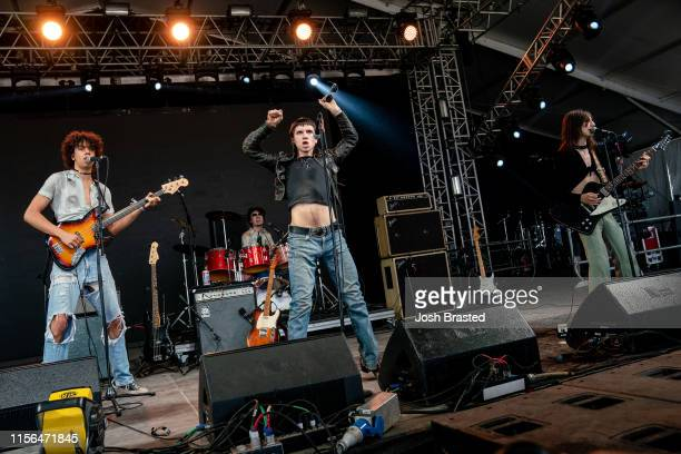Daryl Johns Andreas Valbuena Michael D'Addario and Brian D'Addario of the Lemon Twigs performs at the Bonnaroo Music Arts Festival on June 16 2019 in...