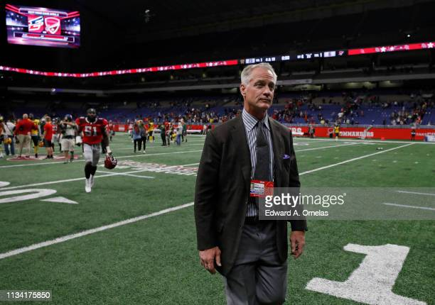 Daryl Johnston general manager of the San Antonio Commanders walks off the field after an Alliance of American Football game against the Arizona...